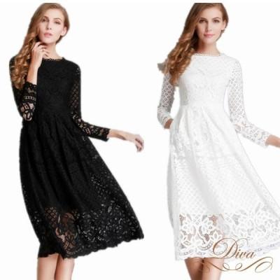 パーティードレス 結婚式 30代 大きいサイズ 二次会 レース 長袖 レース柄 刺繍 ミディアムドレス