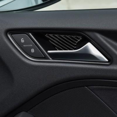 車内インテリアアウディA3 S3 2014-2019 高密度炭素繊維 カーボンルック ドア ハンドル ボウル ステッカー