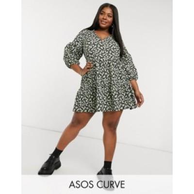 エイソス レディース ワンピース トップス ASOS DESIGN Curve textured mini v-neck volume sleeve dress in green disty floral Green d