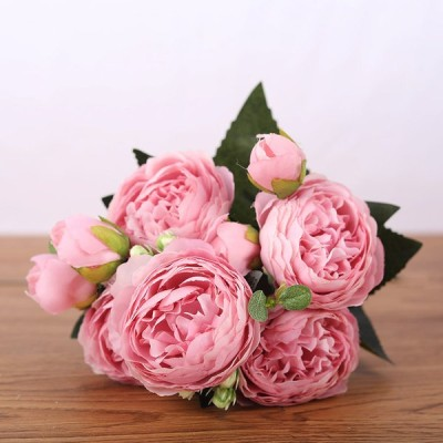 フェイクペルシャローズ5花シルクブーケパーティーデコレーション装飾ピンク