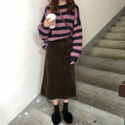 ハイウエスト コーデュロイ ひざ下丈タイトスカートミディアム丈 体型カバー オフィス 大人可愛い ガーリー カジュアル 韓国ファッション