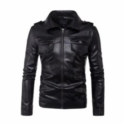 秋冬 ライダースジャケット レザージャケット メンズ 大きいサイズ シングル アウター カジュアル PUレザー メンズ ジャケット シングル