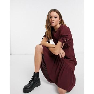 ニュールック レディース ワンピース トップス New Look tie sleeve frill hem midi dress in burgundy