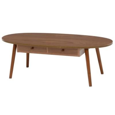 折りたたみテーブル センターテーブル 引き出し付き 楕円 丸型 ブラウン 約110×48cm 高さ:約37cm MT-6352BR 萩原株式会社(メーカー直送)(ラッピング不可)