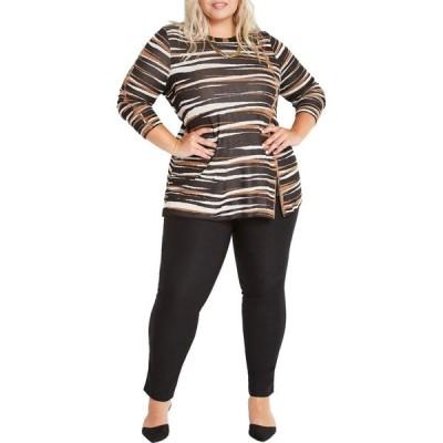 ニックゾー NIC+ZOE レディース ニット・セーター 大きいサイズ トップス Plus Size Mighty Zip Sweater Black Multi