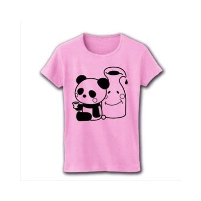 ほろ酔いパンダ(日常編) リブクルーネックTシャツ(ライトピンク)