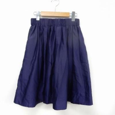 【中古】ベイフロー BAYFLOW スカート フレア ギャザー ウエストゴム 膝丈 3 パープル /ST35 レディース
