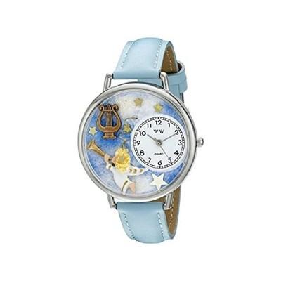 【新品・送料無料】天使とハープ 水色レザーバンド シルバーフレーム 腕時計#U0710004