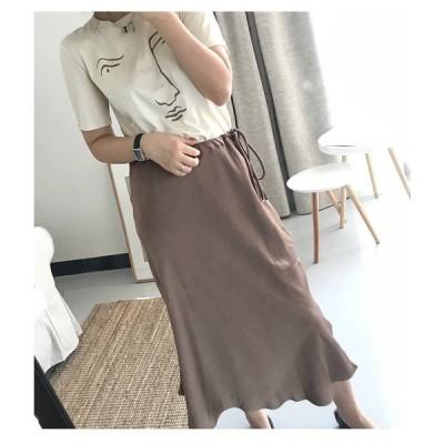 スカート サテンナロースカート サテン ブラウン 光沢 上品 艶やか 華やか ロング丈 ファスナー Aライン フレア シンプル おしゃれ 大人 通勤 フリースタイル