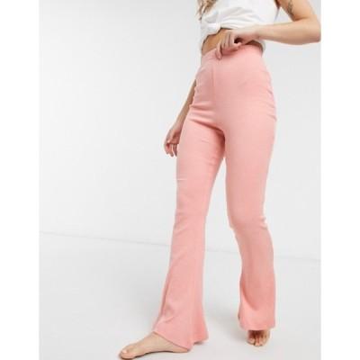 インザスタイル レディース カジュアルパンツ ボトムス In The Style x Billie Faiers loungewear ribbed flare pants in blush