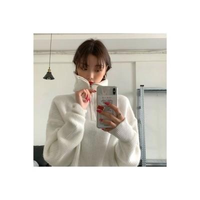 【送料無料】~ 韓国風 ルース 着やせ ジッパー 襟 ヘッジ 長袖のセーター 女 | 346770_A63958-9126915