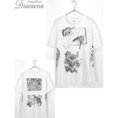 古着 Tシャツ 90s USA製 人気 Escher エッシャー オールド だまし絵 マルチ アート Tシャツ L 古着