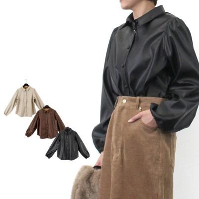 ブラウス シャツ PUレザー パフスリーブ 合成皮革 おしゃれ オフィス 長袖 無地 レギュラーカラー トップス レディース