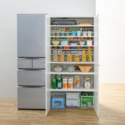 家具 収納 キッチン収納 食器棚 キッチンストッカー 清潔に安心して使える 食器からストックまで入るキッチンパントリー収納庫 幅60奥行55cm WAT435