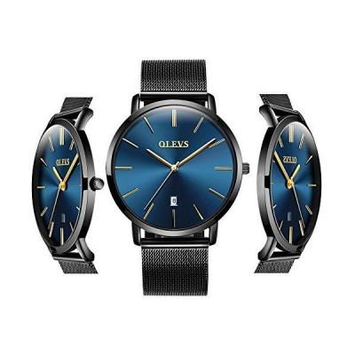 OLEVS 安価な腕時計 メンズ アナログ クォーツ ビジネスウォッチ ステンレススチール クラシック 防水 ユニークなカレンダー 日付 ウィンドウ