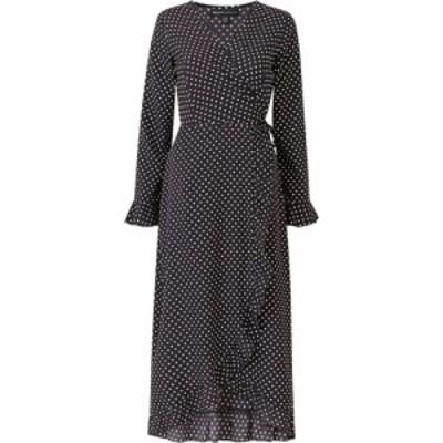 メラ ロンドン Mela London レディース ワンピース ワンピース・ドレス Spot Printed Ruffle Hem Detail Wrap Dres Black