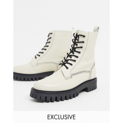 ASRA レディース ブーツ レースアップブーツ シューズ・靴 Exclusive Billie lace up flat boots with stitch detail in bone leather