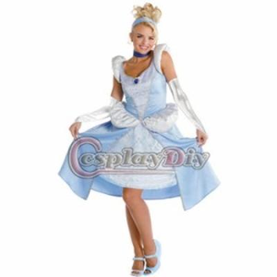 高品質 高級コスプレ衣装 ハロウィン ディズニー 風 プリンセス ドレス Princess Cinderella Sassy Adult Women's Dress Costume