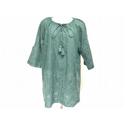 #anc レリアン Leilian チュニック 11 緑系 刺繍 レディース [621174]