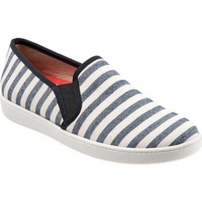 トロッターズ Trotters レディース スリッポン・フラット シューズ・靴 Americana Slip-On Black/Cream Striped Canvas