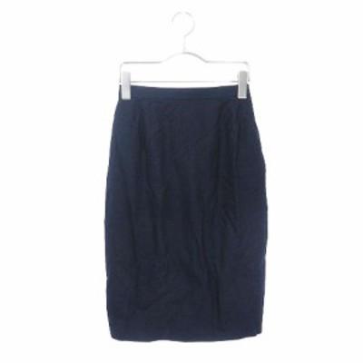 【中古】ヨンドシー 4℃ スカート タイト ひざ丈 コットン 紺 ネイビー ☆CA☆キ6 /fy0114 レディース