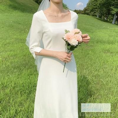 ウエディングドレス カジュアル ナチュラル 安い 花嫁 ドレス 二次会 ブライダル 袖あり ビーチフォト後撮り ウェディングドレス ワンピース Aライン
