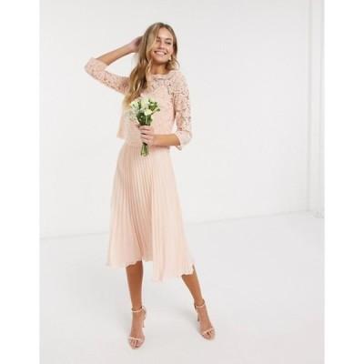 オアシス レディース ワンピース トップス Oasis bridesmaid lace cap sleeve pleated dress in peach