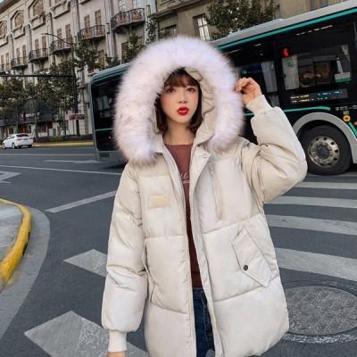 2020秋冬新品ダウンコートレディース学生ファー襟ゆったり中綿コートアウターins