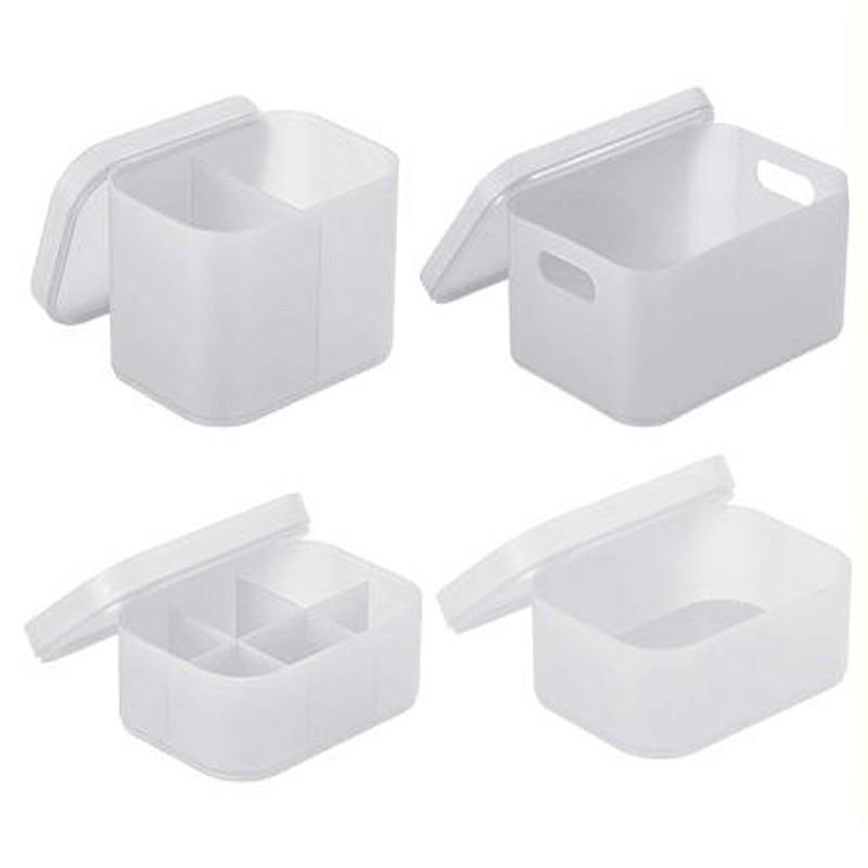 無印風 磨砂白色文具桌面收納盒 置物盒 大 小 2格 6格 長方形 化妝品筆筒【RC4022】《Jami》