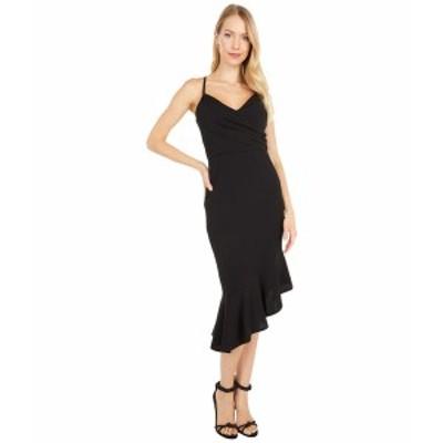 ベベ レディース ワンピース トップス Crossover Flounce Midi Dress Black