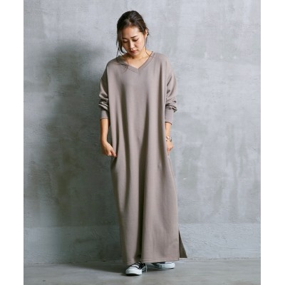 Vネックゆったりサイズマキシワンピース (ワンピース)Dress
