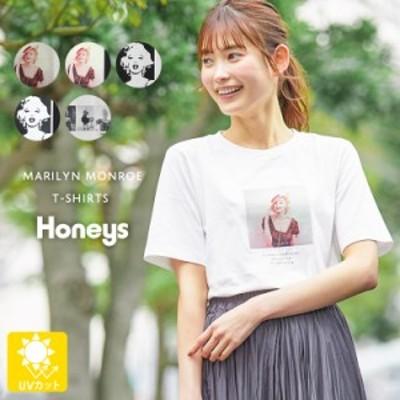 トップス Tシャツ プリントTシャツ 半袖 フォトプリント UVカット レディース コラボ SALE Honeys ハニーズ マリリンモンローTシャツ