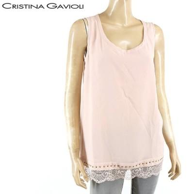 クリスティーナガヴィオリ(CRISTINA GAVIOLI)レディース タンクトップ ピンク系  裾にスタッズとレース使い イタリア製 (サイズ/42)*ga0110