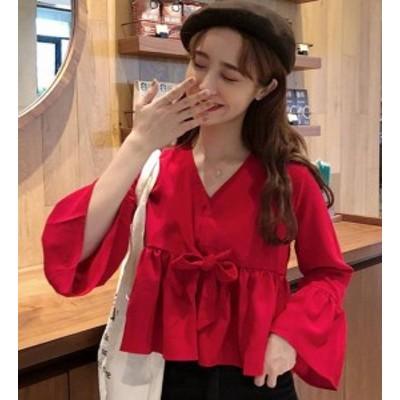 韓国 ファッション レディース トップス ブラウス Vネック リボン フリル ぺプラム オルチャン ゆったり 無地 長袖 ガーリー