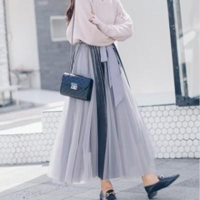 異素材 フレア チュール ロング スカート レディース ベロア ウエストゴム 体型カバー シースルー マキシ