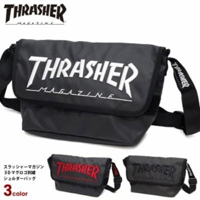 THRASHER ショルダーバッグ スラッシャー 3Dロゴ 刺繍 メッセンジャーバッグ スラッシャーマガジン マグロゴ バッグ 斜め掛けバッグ 男女