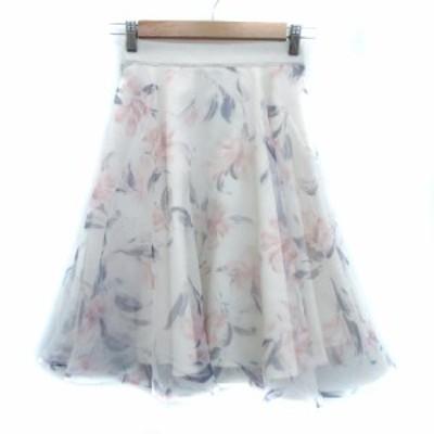 【中古】ルージュディアマン ROUGE DIAMANT スカート フレア ひざ丈 花柄 38 マルチカラー 白 ホワイト レディース