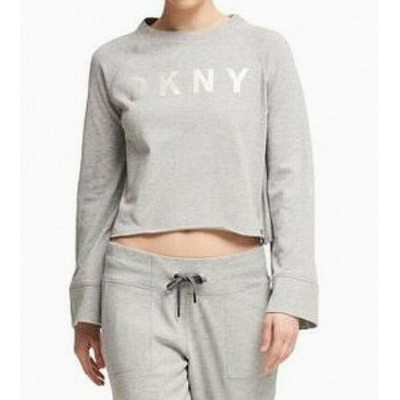 DKNY ダナキャランニューヨーク ファッション トップス DKNY Womens Gray Size Small S Cropped Logo Print Pullover Sweater