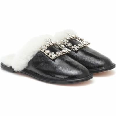 ロジェ ヴィヴィエ Roger Vivier レディース スリッパ シューズ・靴 Hotel Vivier Shearling-Trimmed Leather Slippers Nero