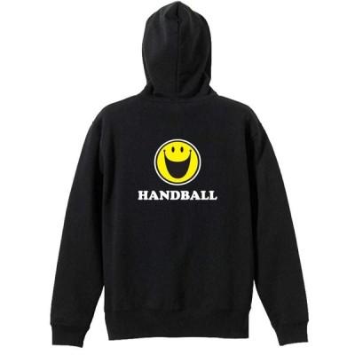シンプルスマイリーフェイス HANDBALL ハンドボールパーカー ジップパーカー 裏パイル 全8色 110cm-XXL ARTWORKS-KOBE