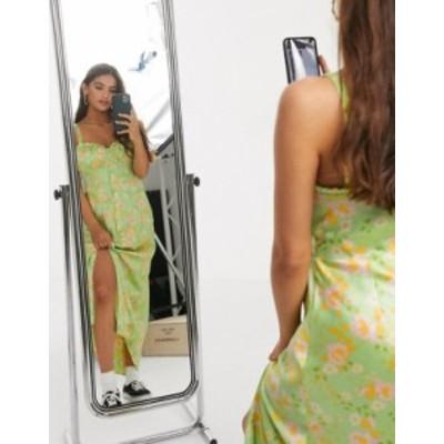エイソス レディース ワンピース トップス ASOS DESIGN satin button through cami maxi slip dress in floral print Floral print