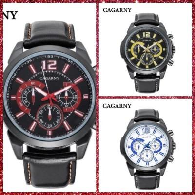 メンズ 腕時計 ミリタリー ブラックレザーストラップカジュアルウォッチ CAGARNY カガニー