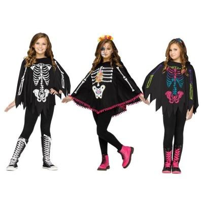 ハロウィン コスプレ 子供用 スケルトン ポンチョ キッズ がいこつ 衣装 仮装 コスチューム Fun World
