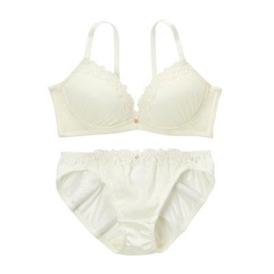 脇高 アンティークフラワーブラジャー・ショーツセット(E90/3L) (ブラジャー&ショーツセット)Bras & Panties
