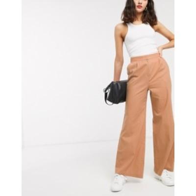 エイソス レディース カジュアルパンツ ボトムス ASOS DESIGN linen slide pants Plaster