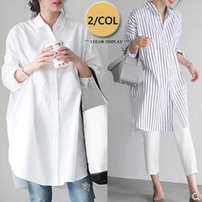 超人気春の新作/韓国のファッションロングシャツの夏のシャツのワンピースの大サイズの上着はゆったりとした生地を履きます可愛い