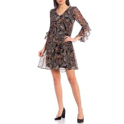 カルバンクライン レディース ワンピース トップス 3/4 Ruffle Sleeve Paisley Chiffon Dress Blk Multi