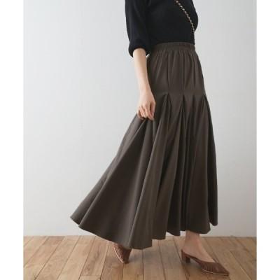 スカート ボリュームフレアのゴアードロングスカート