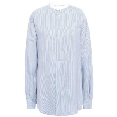 マスコブ MASSCOB レディース ブラウス・シャツ トップス poitier pinstriped broadcloth shirt Light blue