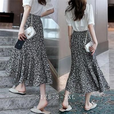 夏の薄手のウエストが細く見える小柄な花柄のスカートがゆったりカジュアルな中スカートが爽やかで甘いシフォンの半身スカートですRD605